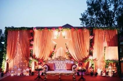 Peach Wedding Stage Design