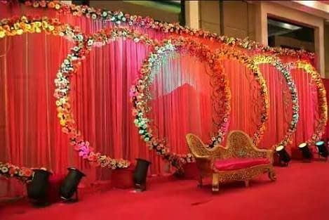 Red Themed Wedding Stage